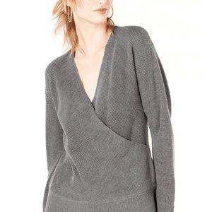 Bar III Sweater Gray Surplice Wool Women Sz XXL